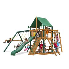 <strong>Gorilla Playsets</strong> Navigator Swing Set with Green Vinyl Canopy