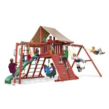 <strong>Gorilla Playsets</strong> Sun Climber II Swing Set with Brannon Redwood Sunbrella Canopy