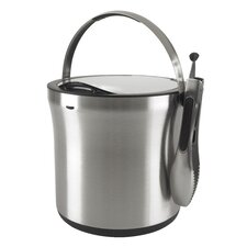 2 Piece Steel Ice Bucket and Tong Set