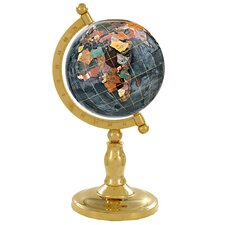 "9"" Classic Black Opalite Globe with Arch and Base in Gold"