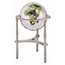 "13"" Ambassador Opal Globe with Three Leg High Stand in Silver"