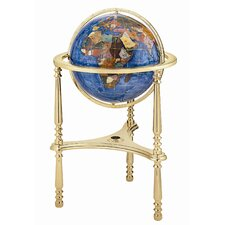 "<strong>Alexander Kalifano</strong> 13"" Ambassador Marine Blue Globe with Three Leg High Stand in Gold"