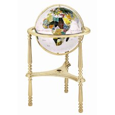 "<strong>Alexander Kalifano</strong> 13"" Ambassador Opal Globe with Three Leg High Stand in Gold"