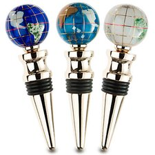 Gemstone Globe with Opalite Ocean on a Wine Bottle Stopper (Set of 3)