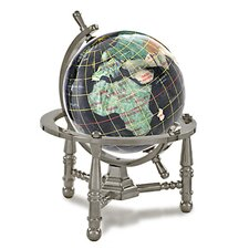 Gemstone Globe Opalite Ocean with Nautical 3-Leg Stand