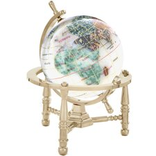 <strong>Alexander Kalifano</strong> Gemstone Globe Opalite Ocean with Nautical 3-Leg Stand