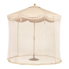 <strong>Royal Teak by Lanza Products</strong> 9' LED Light Scallop Market Umbrella with Netting
