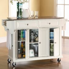 Alexandria Kitchen Island with Stainless Steel Top