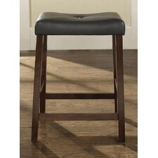 "Upholstered 24"" Saddle Seat Bar Stool in Vintage Mahogany Finish"