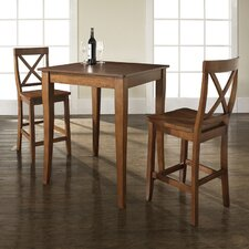 <strong>Crosley</strong> Three Piece Pub Dining Set with Cabriole Leg Table and X-Back Barstools in Classic Cherry