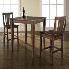 <strong>Crosley</strong> Three Piece Pub Dining Set with Cabriole Leg Table and Shield Back Barstools in Vintage Mahogany