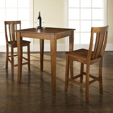 Three Piece Pub Dining Set with Cabriole Leg Table and Shield Back Barstools in Classic Cherry