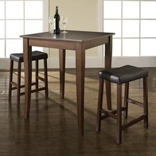 <strong>Crosley</strong> Three Piece Pub Dining Set with Cabriole Leg Table and Saddle Seat Barstools in Vintage Mahogany