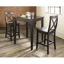 <strong>Crosley</strong> Three Piece Pub Dining Set with Tapered Leg Table and X-Back Barstools