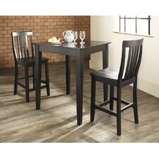 Three Piece Pub Dining Set with Tapered Leg Table and Barstools in Black