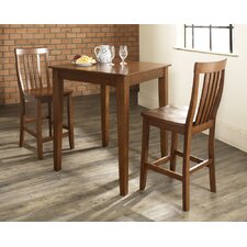 Three Piece Pub Dining Set with Tapered Leg Table and Barstools in Classic Cherry