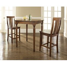 Three Piece Pub Dining Set with Turned Leg Table and Shield Back Barstools in Classic Cherry