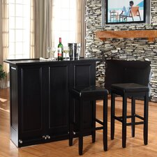 "<strong>Crosley</strong> Mobile Folding Bar in Black with 29"" Upholstered Square Seat Stool in Black"