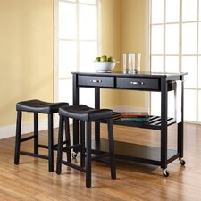 Kitchen Cart Set with Granite Top