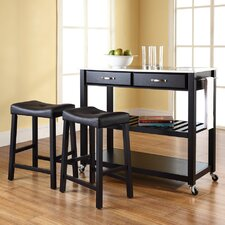 Kitchen Cart Set with Stainless Steel Top