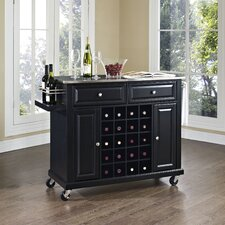 Wine Cart with Stainless Steel Top