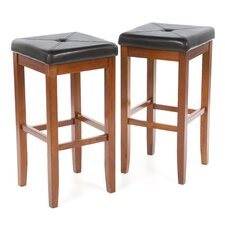 "Upholstered Square Seat 29"" Barstool in Classic Cherry"