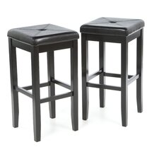 "Upholstered Square Seat 29"" Barstool in Black"