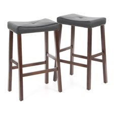 "Upholstered 29"" Saddle Seat Bar Stool in Vintage Mahogany Finish"