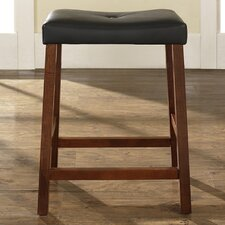 "Upholstered 24"" Saddle Seat Bar Stool in Classic Cherry Finish"