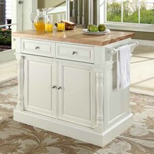 Oxford Kitchen Island with Butcher Block Top