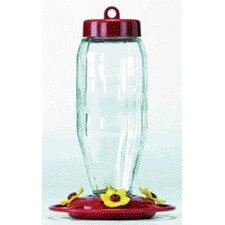 Glass Hummingbird Feeder in Red
