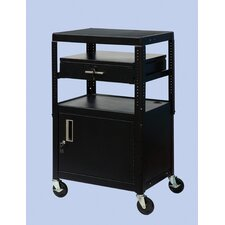 "26"" - 42"" Adjustable Equipment Cart with Cabinet"