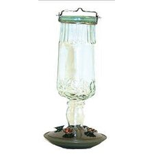 Antique Bottle Glass Hummingbird Feeder