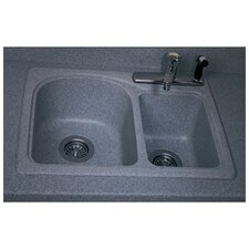 "Swanstone Classics 25"" x 18"" Space Saver Double Bowl Kitchen Sink"