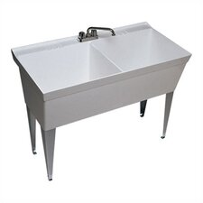 "Veritek 45"" x 23"" Double Bowl Free Standing Laundry Sink"