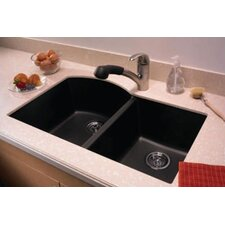 "Swanstone Classics 32"" x 21"" Undermount Double Bowl Kitchen Sink"
