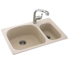 "Swanstone Classics 33"" x 22"" Large/Small Double Bowl Kitchen Sink"