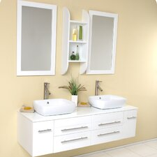 "Stella 59"" Bellezza Modern Double Vessel Sink Bathroom Vanity Set"