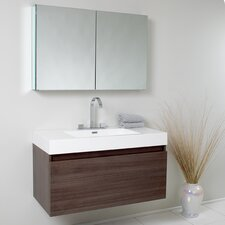 "Senza 39"" Mezzo Modern Bathroom Vanity Set with Single Sink"