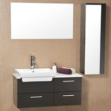 "Stella 35.5"" Caro Wood Modern Bathroom Vanity Set with Mirrored Side Cabinet"