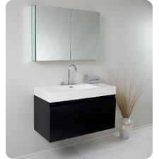 "Senza 39"" Mezzo Modern Bathroom Vanity Set with Medicine Cabinet"