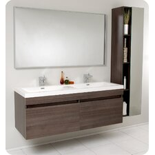 "Senza 57"" Largo Modern Bathroom Vanity Set with Double Sink"