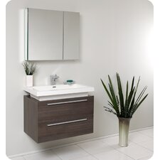 "Senza 31.25"" Medio Modern Bathroom Vanity Set with Medicine Cabinet"