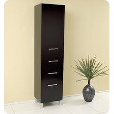 Espresso Bathroom Linen Cabinet with 3 Pull Out Drawers
