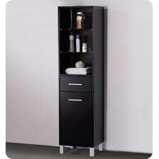 Espresso Bathroom Linen Cabinet with 3 Open Shelves