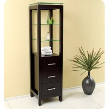 Espresso Bathroom Linen Cabinet with 3 Tempered Glass Shelves