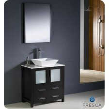 "Torino 30"" Single Modern Bathroom Vanity Set with Mirror"