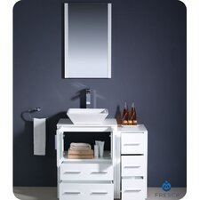 "Torino 36"" Modern Bathroom Vanity Set with Side Cabinet and Vessel Sink"
