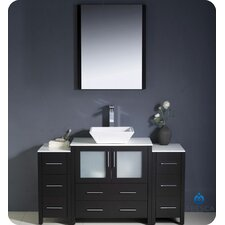 "<strong>Fresca</strong> Torino 54"" Modern Bathroom Vanity Set with 2 Side Cabinets and Vessel Sink"