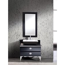 "Moselle 36"" Single Modern Glass Bathroom Vanity Set with Mirror"